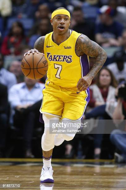 390e3a1ded1 Isaiah Thomas of the Los Angeles Lakers drives with the ball during the  first half against. Los Angeles Lakers v New Orleans Pelicans. People  Rajon  Rondo ...