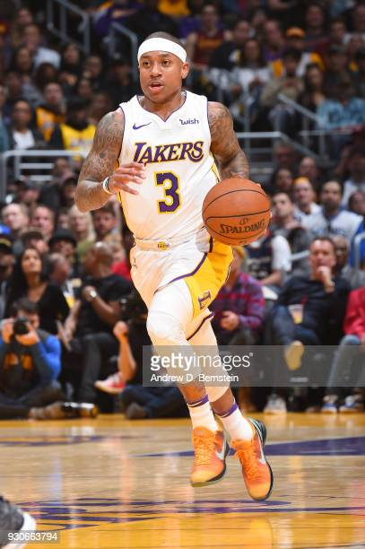 Isaiah Thomas of the Los Angeles Lakers handles the ball against the Cleveland Cavaliers on March 11 2018 at STAPLES Center in Los Angeles California...