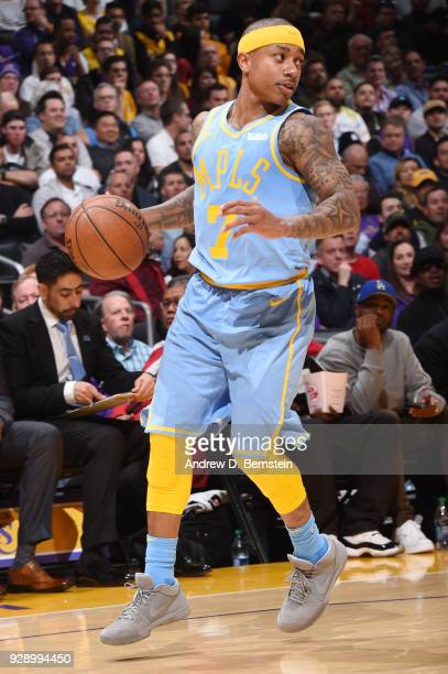 Isaiah Thomas of the Los Angeles Lakers handles the ball during the game against the Orlando Magic at STAPLES Center on March 7 2017 in Los Angeles...