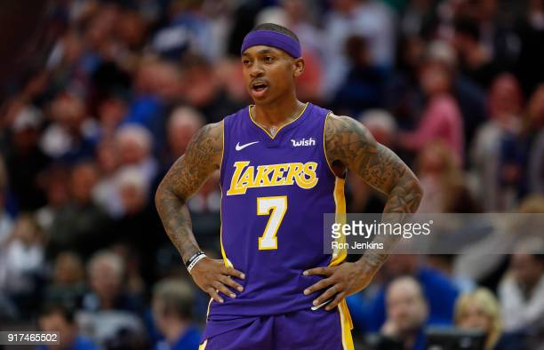 Isaiah Thomas of the Los Angeles Lakers reacts as the Lakers play the Dallas Mavericks in the second half at American Airlines Center on February 10...