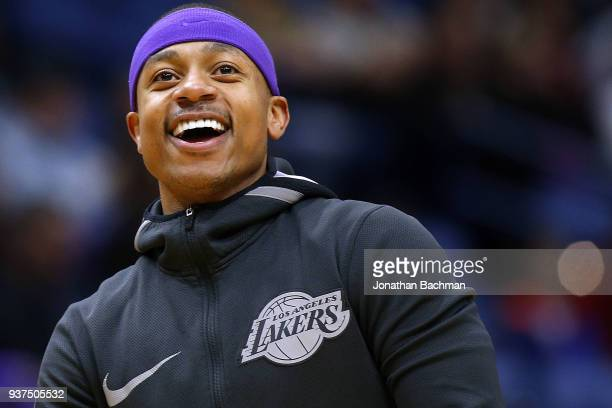 Isaiah Thomas of the Los Angeles Lakers reacts before a game against the New Orleans Pelicans at the Smoothie King Center on March 22 2018 in New...