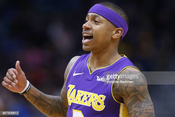 Isaiah Thomas of the Los Angeles Lakers reacts during the first half against the New Orleans Pelicans at the Smoothie King Center on March 22 2018 in...