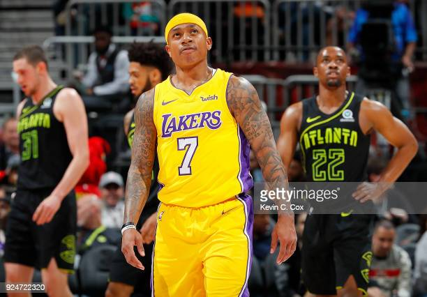 Isaiah Thomas of the Los Angeles Lakers reacts during the game against the Atlanta Hawks at Philips Arena on February 26 2018 in Atlanta Georgia NOTE...