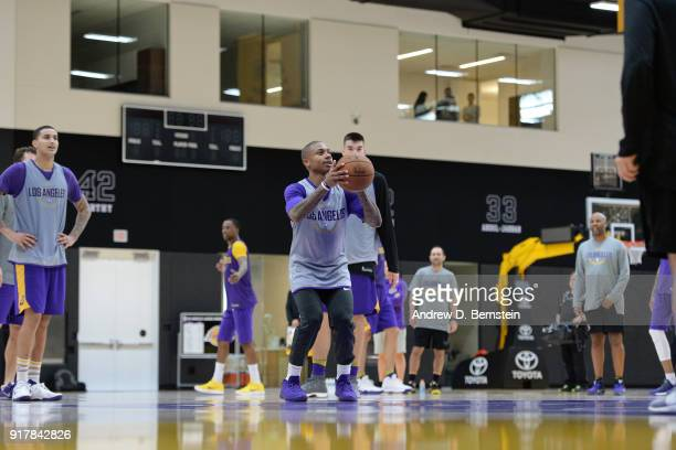 Isaiah Thomas of the Los Angeles Lakers shoots the ball during all access practice on February 12 2018 at UCLA Heath Training Center in El Segundo...