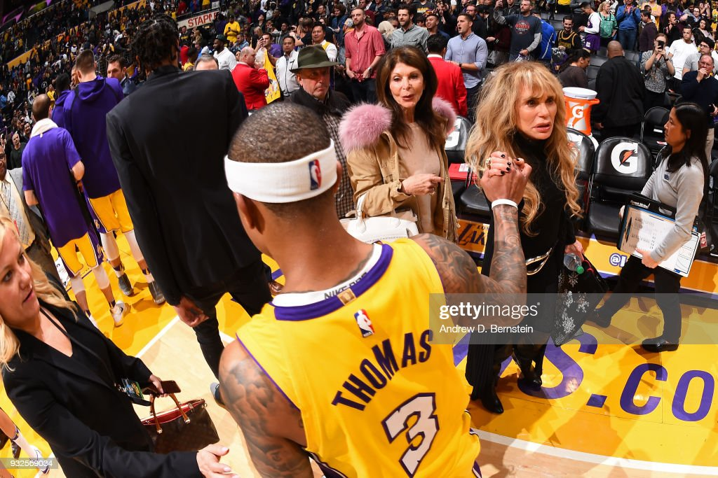 Isaiah Thomas #3 of the Los Angeles Lakers walks off court after the game against the Denver Nuggets on March 13, 2018 at STAPLES Center in Los Angeles, California.