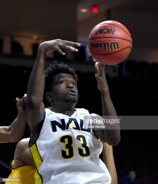 Isaiah Thomas of the Northern Arizona Lumberjacks looks to grab a rebound against the UC Irvine Anteaters during the 2017 Continental Tire Las Vegas...