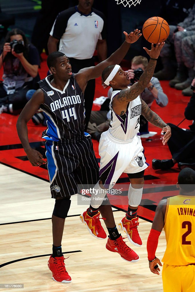 Isaiah Thomas of the Sacramento Kings and Team Chuck goes up for a ... cc1892034