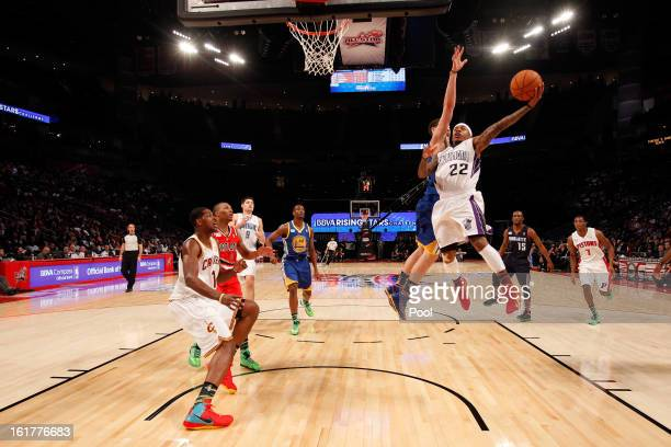 Isaiah Thomas of the Sacramento Kings and Team Chuck goes up for a shot against Klay Thompson of the Golden State Warriots and Team Shaq in the BBVA...