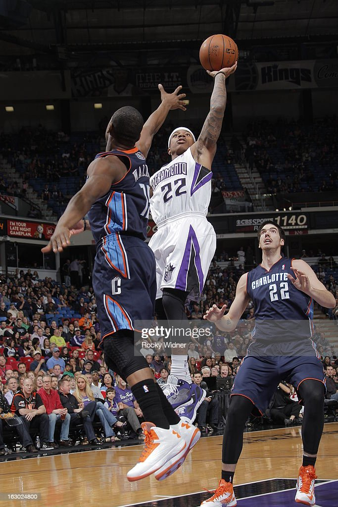 Isaiah Thomas #22 of the Sacramento Kings shoots the ball against Kemba Walker #15 of the Charlotte Bobcats on March 3, 2013 at Sleep Train Arena in Sacramento, California.
