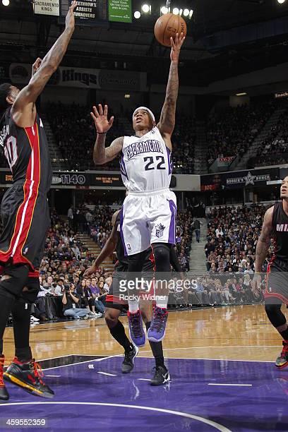 Isaiah Thomas of the Sacramento Kings shoots the ball against the Miami Heat at Sleep Train Arena on December 27 2013 in Sacramento California NOTE...