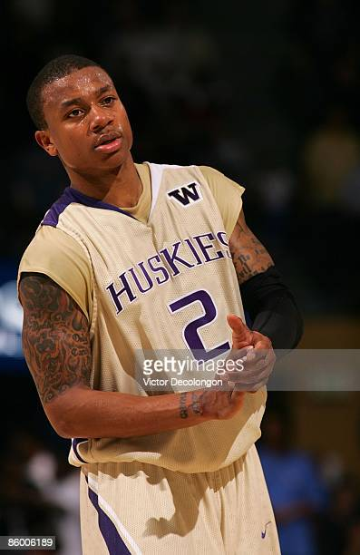 Isaiah Thomas of the Washington Huskies looks on during their NCAA basketball game against the UCLA Bruins at Pauley Pavilion on February 19 2009 in...