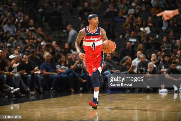 Isaiah Thomas of the Washington Wizards handles the ball against the San Antonio Spurs on October 26 2019 at the Pepsi Center in Denver Colorado NOTE...