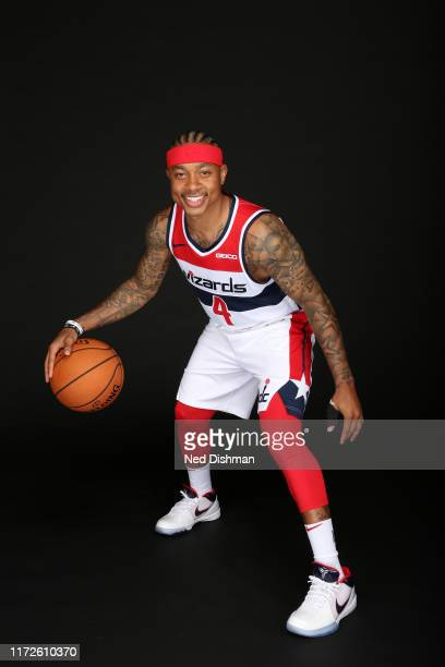 Isaiah Thomas of the Washington Wizards poses for a portrait during the 2019 NBA Rookie Photo Shoot at the Washington Wizards Practice Facility on...