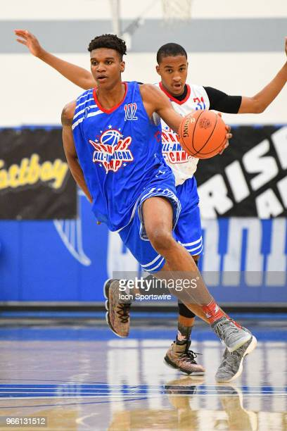 Isaiah Todd from Marshall High School brings the ball up the court during the Pangos AllAmerican Camp on June 1 2018 at Cerritos College in Norwalk CA