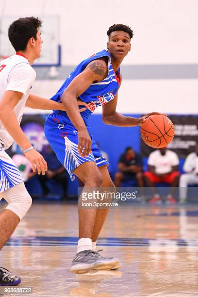 Isaiah Todd from Marshall High School dribbles up the court during the Pangos AllAmerican Camp on June 3 2018 at Cerritos College in Norwalk CA