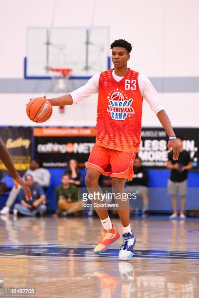 Isaiah Todd from Trinity Academy dribbles up the court during the Pangos AllAmerican Camp on June 2 2019 at Cerritos College in Norwalk CA