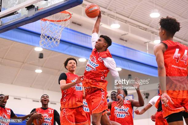 Isaiah Todd from Trinity Academy goes up for a dunk during the Pangos AllAmerican Camp on June 2 2019 at Cerritos College in Norwalk CA
