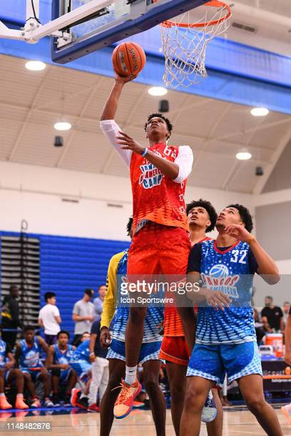 Isaiah Todd from Trinity Academy scores inside during the Pangos AllAmerican Camp on June 2 2019 at Cerritos College in Norwalk CA