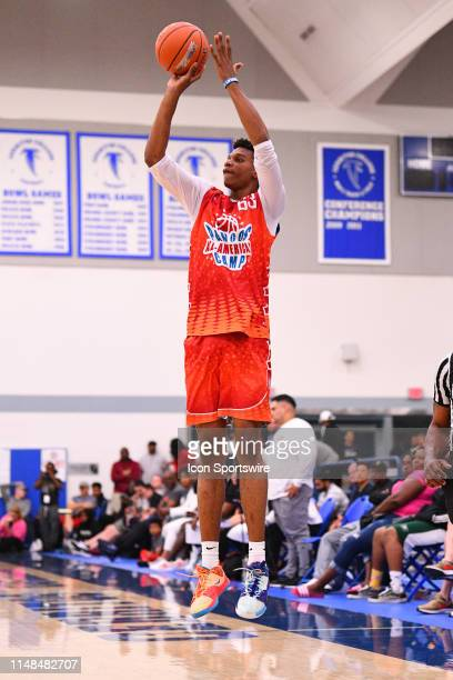 Isaiah Todd from Trinity Academy shoots a shot during the Pangos AllAmerican Camp on June 2 2019 at Cerritos College in Norwalk CA