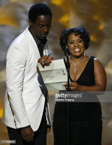 Isaiah Washington and Chandra Wilson presenters during 58th Annual Creative Arts Emmy Awards Show at The Shrine Auditorium in Los Angeles California...