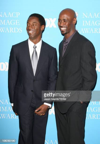 Isaiah Washington and DB Woodside during The '38th Annual NAACP Image Awards' Nominations at The Peninsula Hotel in Beverly Hills California United...
