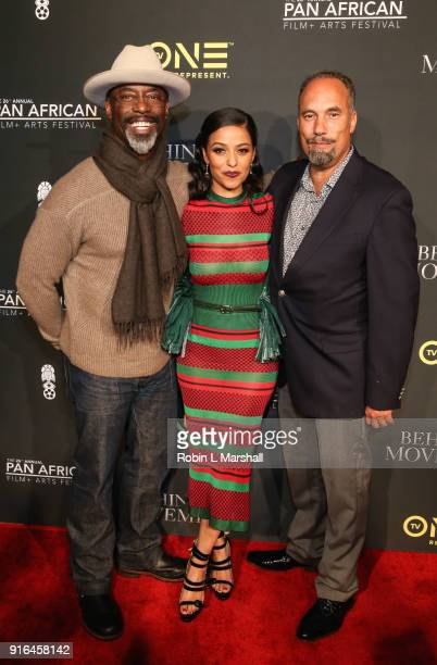 Isaiah Washington Meta Golding and Roger G Smith attend Behind The Movement Red Carpet Event at Cinemark Baldwin Hills Crenshaw Plaza 15 on February...