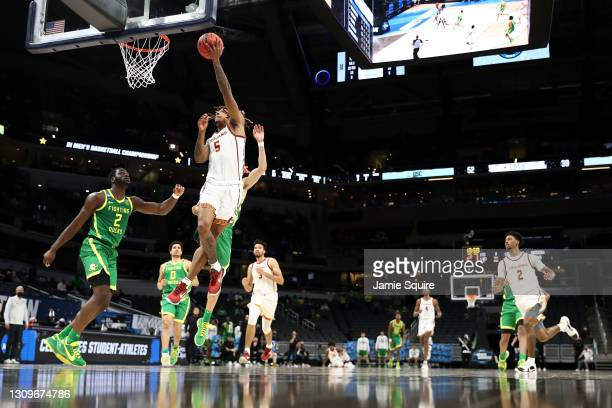 Isaiah White of the USC Trojans goes up for a shot against the Oregon Ducks in the second half of their Sweet Sixteen round game of the 2021 NCAA...