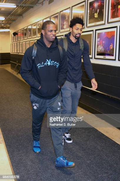 Isaiah Whitehead and Spencer Dinwiddie of the Brooklyn Nets arrive before the game against the Dallas Mavericks on March 17 2018 at Barclays Center...