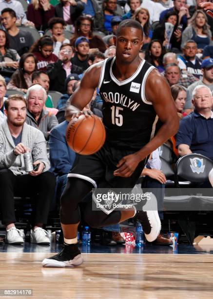 Isaiah Whitehead of the Brooklyn Nets dribbles the ball against the Dallas Mavericks on November 29 2017 at the American Airlines Center in Dallas...