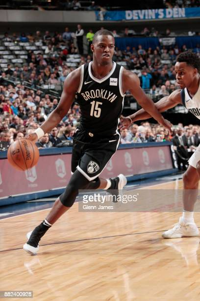 Isaiah Whitehead of the Brooklyn Nets drives to the basket against the Dallas Mavericks on November 29 2017 at the American Airlines Center in Dallas...