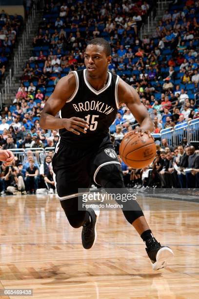 Isaiah Whitehead of the Brooklyn Nets handles the ball against the Orlando Magic during the game on April 6 2017 at Amway Center in Orlando Florida...
