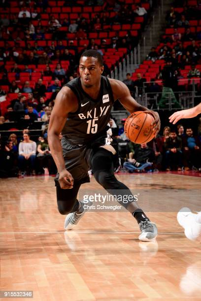 Isaiah Whitehead of the Brooklyn Nets handles the ball during the game against the Detroit Pistons on February 7 2018 at Little Caesars Arena in...
