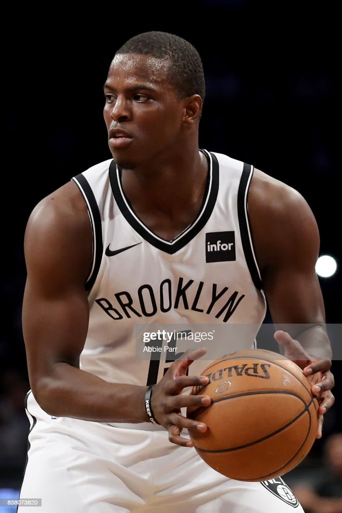 Isaiah Whitehead #15 of the Brooklyn Nets looks on in the second half against the Miami Heat during their Pre Season game at Barclays Center on October 5, 2017 in the Brooklyn Borough of New York City.