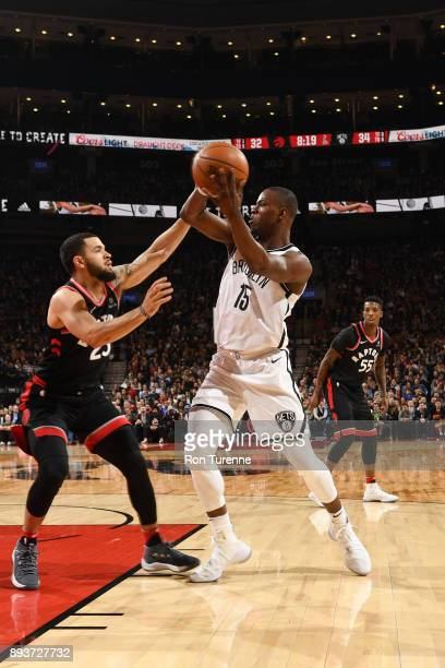 Isaiah Whitehead of the Brooklyn Nets passes the ball against Fred VanVleet of the Toronto Raptors on December 15 2017 at the Air Canada Centre in...