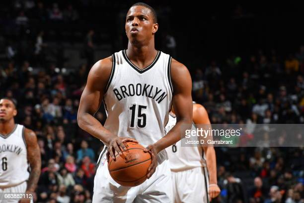 Isaiah Whitehead of the Brooklyn Nets shoots a foul shot against the Atlanta Hawks on April 2 2017 at Barclays Center in Brooklyn New York NOTE TO...
