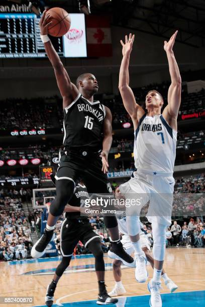 Isaiah Whitehead of the Brooklyn Nets shoots a layup against the Dallas Mavericks on November 29 2017 at the American Airlines Center in Dallas Texas...