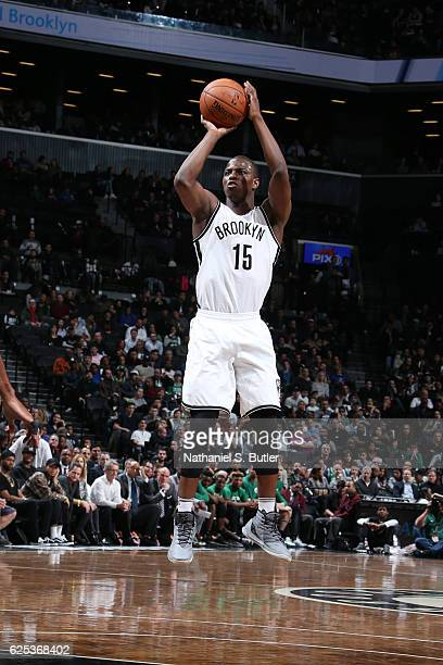 Isaiah Whitehead of the Brooklyn Nets shoots the ball against the Boston Celtics on November 23 2016 at Barclays Center in Brooklyn New York NOTE TO...