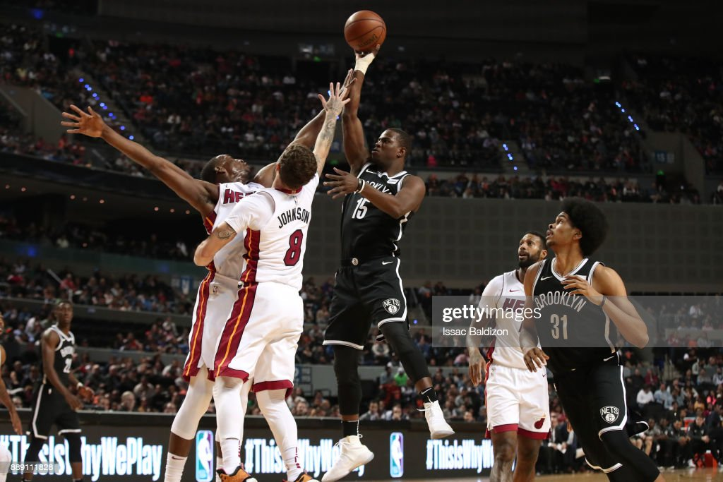 Isaiah Whitehead #15 of the Brooklyn Nets shoots the ball against the Miami Heat as part of the NBA Mexico Games 2017 on December 9, 2017 at the Arena Ciudad de México in Mexico City, Mexico.