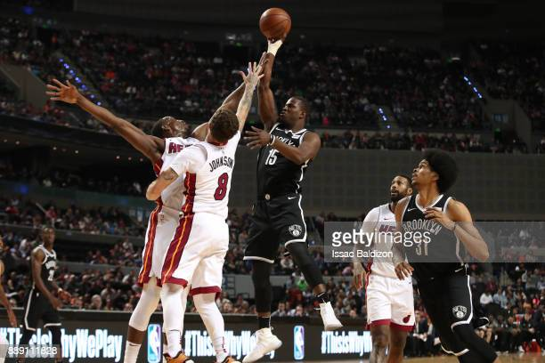 Isaiah Whitehead of the Brooklyn Nets shoots the ball against the Miami Heat as part of the NBA Mexico Games 2017 on December 9 2017 at the Arena...