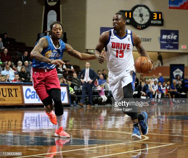 Isaiah Whitehead of the Grand Rapids Drive drives with the ball against Emanuel Terry of the Sioux Falls Skyforce during an NBA GLeague game on March...