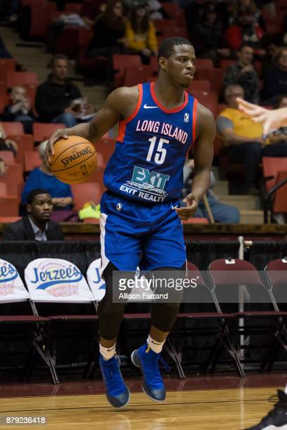 Isaiah Whitehead of the Long Island Nets handles the ball against the Canton Charge on November 25 2017 at the Canton Memorial Civic Center in Canton...