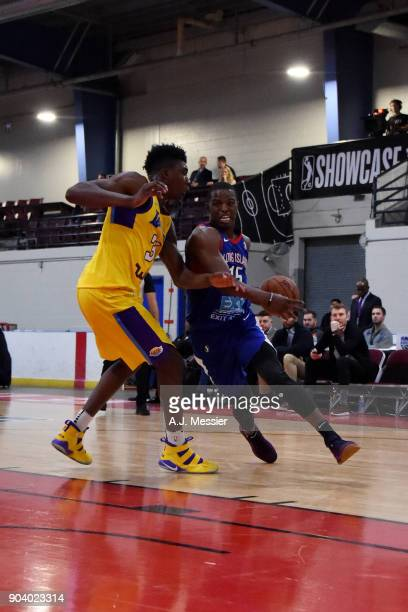 Isaiah Whitehead of the Long Island Nets handles the ball during the game against the South Bay Lakers at the NBA G League Showcase Game 11 on...