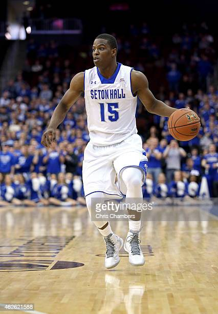 Isaiah Whitehead of the Seton Hall Pirates against the Xavier Musketeers during their Big East conference regular season game at Prudential Center on...