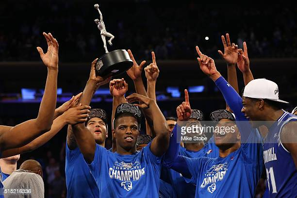 Isaiah Whitehead of the Seton Hall Pirates celebrates after winning the MVP during the Big East Basketball Tournament Championship at Madison Square...