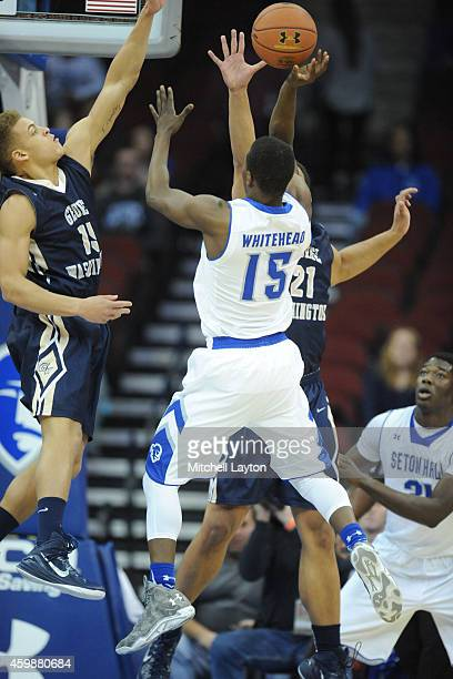 Isaiah Whitehead of the Seton Hall Pirates drives to the basket during a college basketball game against the George Washington Colonials at the...