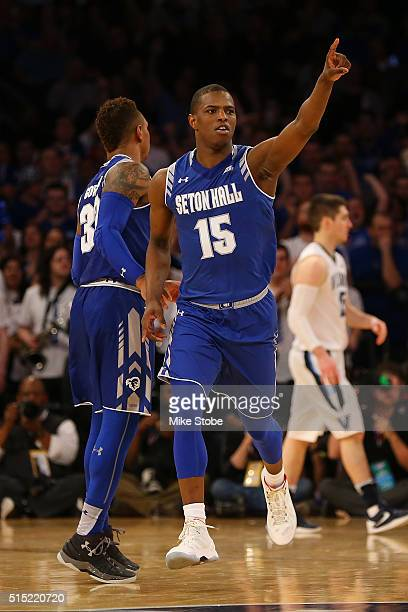 Isaiah Whitehead of the Seton Hall Pirates reacts against the Villanova Wildcats during the Big East Basketball Tournament Championship at Madison...
