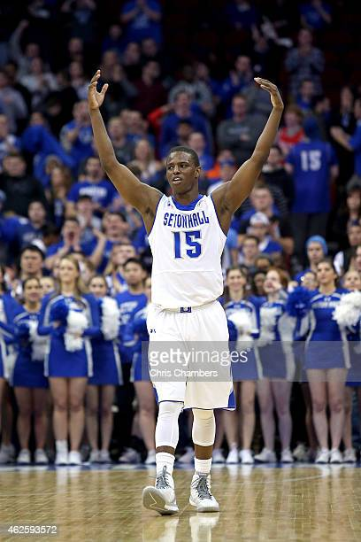 Isaiah Whitehead of the Seton Hall Pirates reacts against the Xavier Musketeers during their Big East conference regular season game at Prudential...