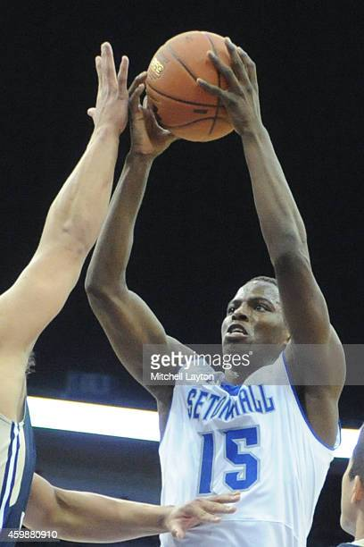 Isaiah Whitehead of the Seton Hall Pirates takes a jump shot during a college basketball game against the George Washington Colonials at the...