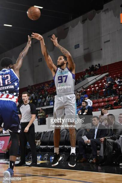 Isaiah Wilkins of the Greensboro Swarm shoots against the Lakeland Magic during the game on November 16 2018 at RP Funding Center in Lakeland Florida...