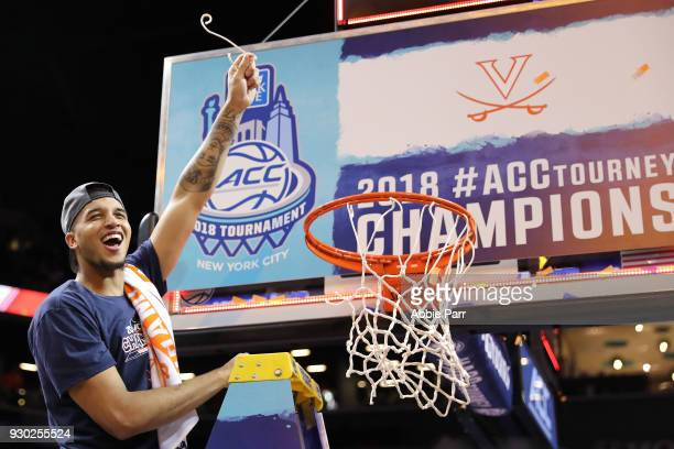Isaiah Wilkins of the Virginia Cavaliers celebrates after defeating the North Carolina Tar Heels 7163 during the championship game of the 2018 ACC...